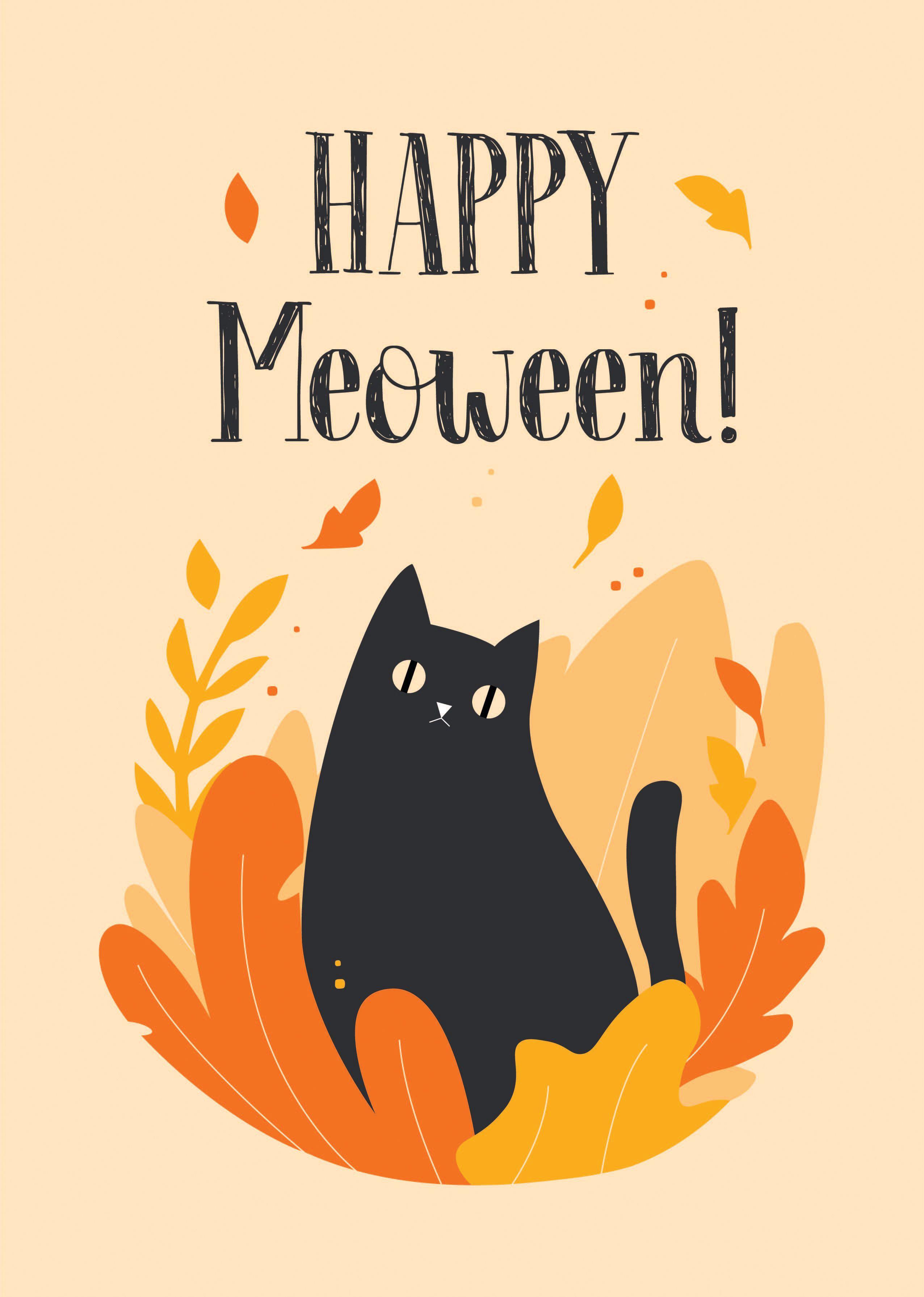Happy Meoween Black Cat Halloween Print Autumn Animal Poster