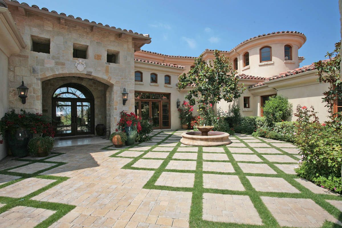 Exterior house design home garden exterior designs for Spanish style fountains for sale