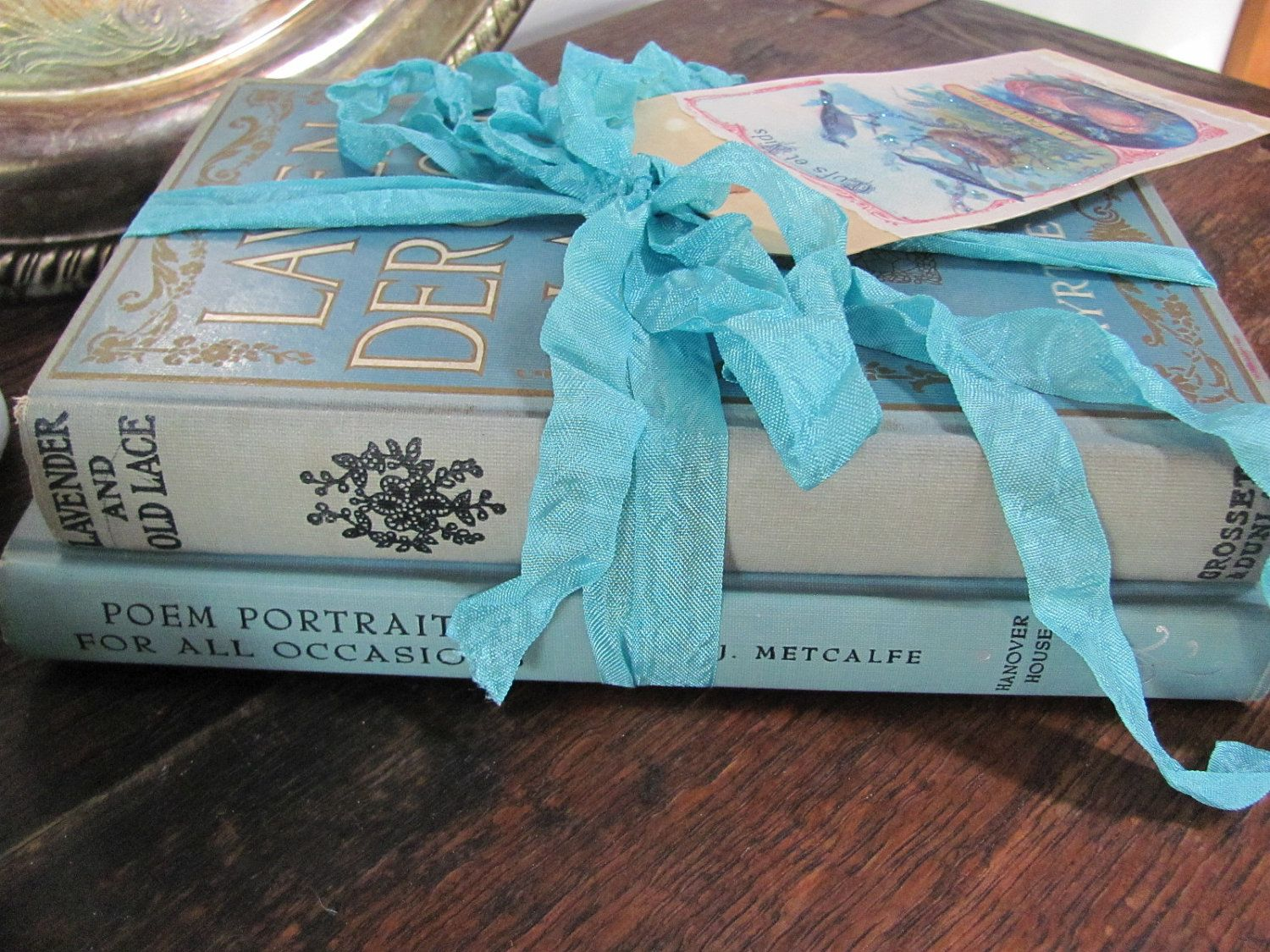 Aqua Vintage Book Stack Blue Book Bundle | Vintage books, Aqua and Books