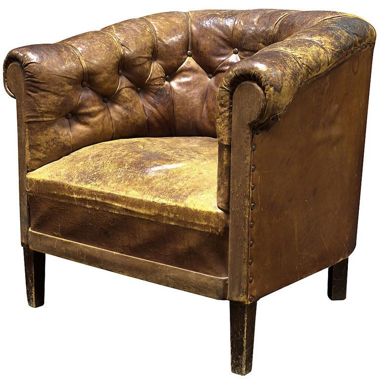 England Circa 1910 1920 Leather Barrel Chair With Button Tufted Back And  Arms, Simple Form.