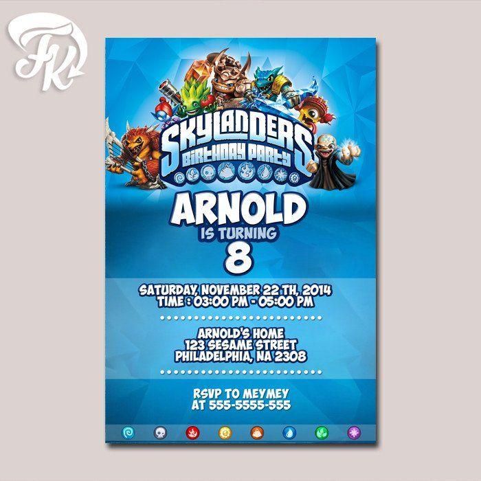 Skylanders Birthday Party Design Card Digital Invitation Kid ...