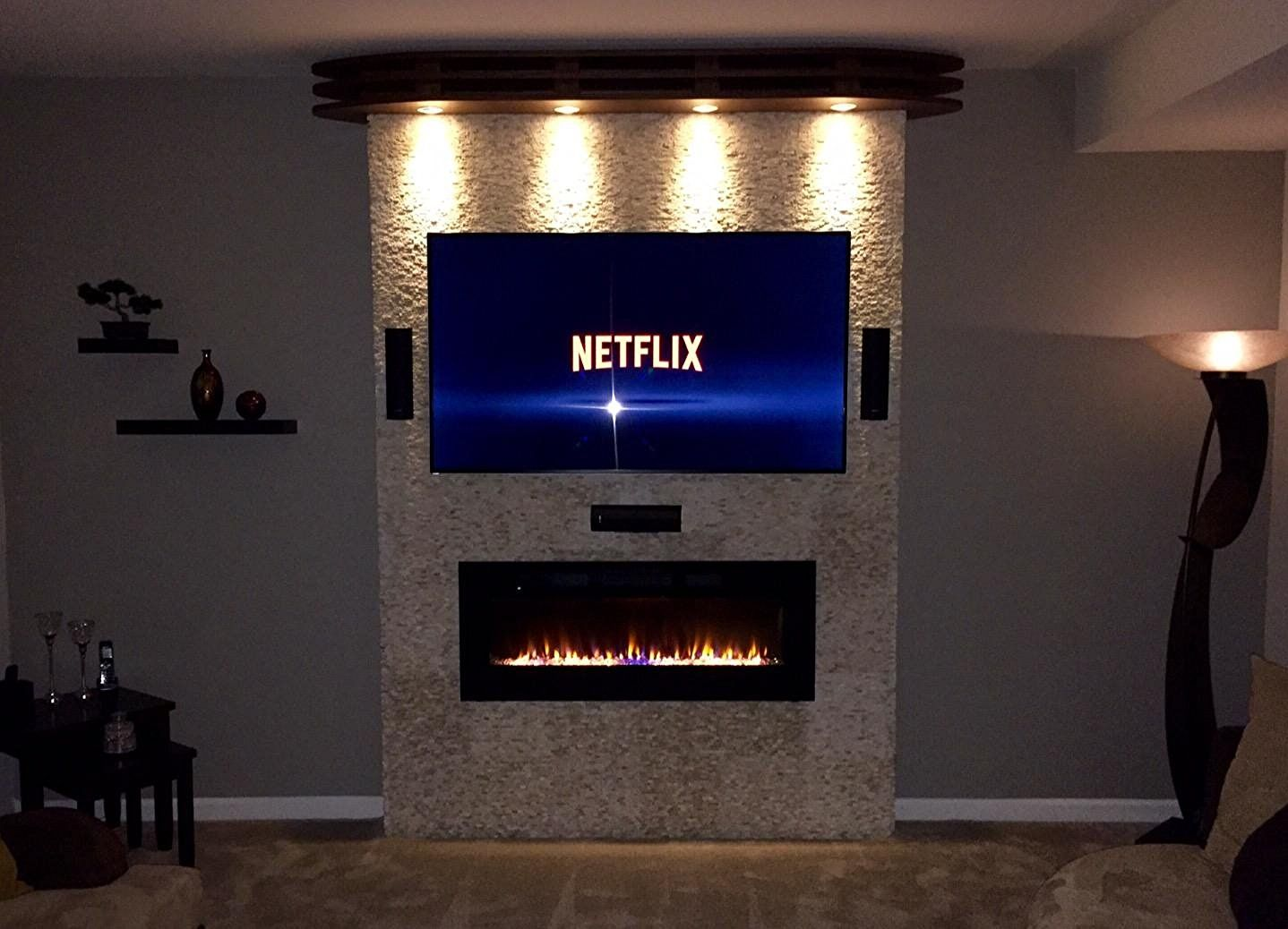 Amazon Com Napoleon Efl50h Linear Wall Mount Electric Fireplace 50 Inch Home Kitc Basement Fireplace Wall Mount Electric Fireplace Electric Fireplace Wall
