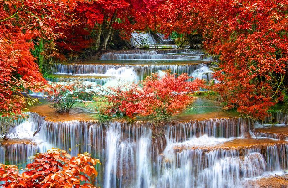 Kanchanaburi Waterfall In Autumn 4k Ultra Hd Wallpaper 4k Wallpaper Net Autumn Waterfalls Waterfall Beautiful Nature Wallpaper