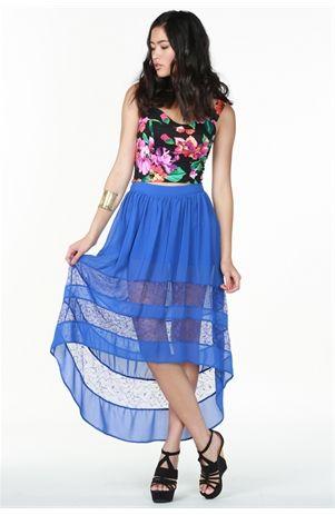 Agaci Lace Inset Hi Low Skirt $28.50