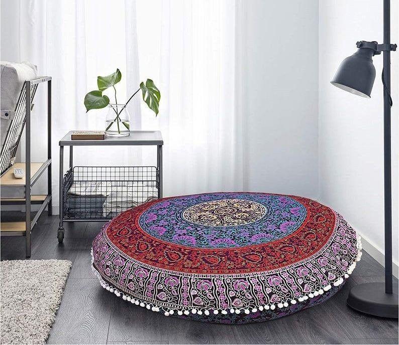 Pouf Large Floor Cushion Seating Area Floor Pillow Mandala Round Cushion Pouffe No Filler Include In 2020 Floor Pillows Floor Cushions Floor Seating Cushions