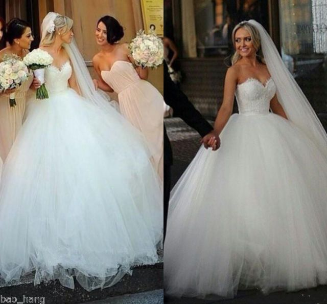 New Attractive Sweetheart Princess Wedding Dresses Bridal Ball Gown Custom  Made | EBay