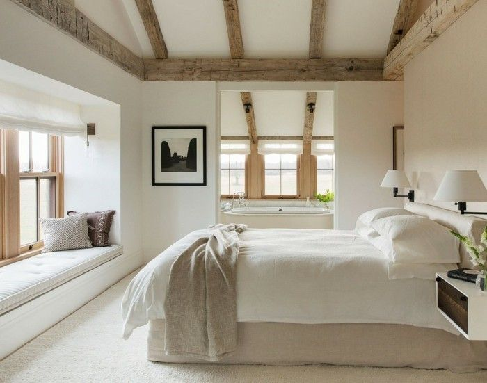 schlafzimmer landhausstil hölzerne akzente und weiße wände - schlafzimmer im landhausstil