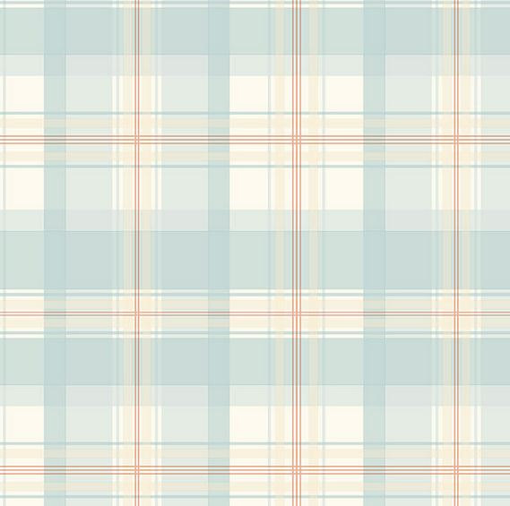light blue pastel plaid wallpaper off white pink cottage shabby country baby nursery boys. Black Bedroom Furniture Sets. Home Design Ideas