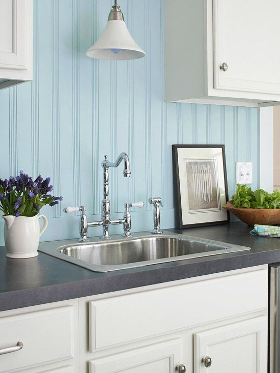 Painted Beadboard Makes A Clean Country Style Backsplash