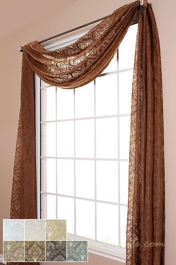 Palazzo Medallion Burnout Sheer Scarf Swag Window Topper