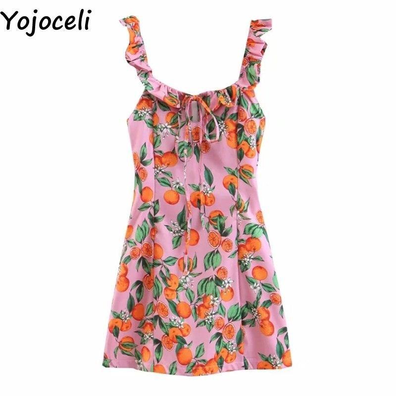 Yojoceli Elegant ruffle short lace up dress women Summer party bodycon sexy backless dress Beach casual daily dress vestidos #shortbacklessdress