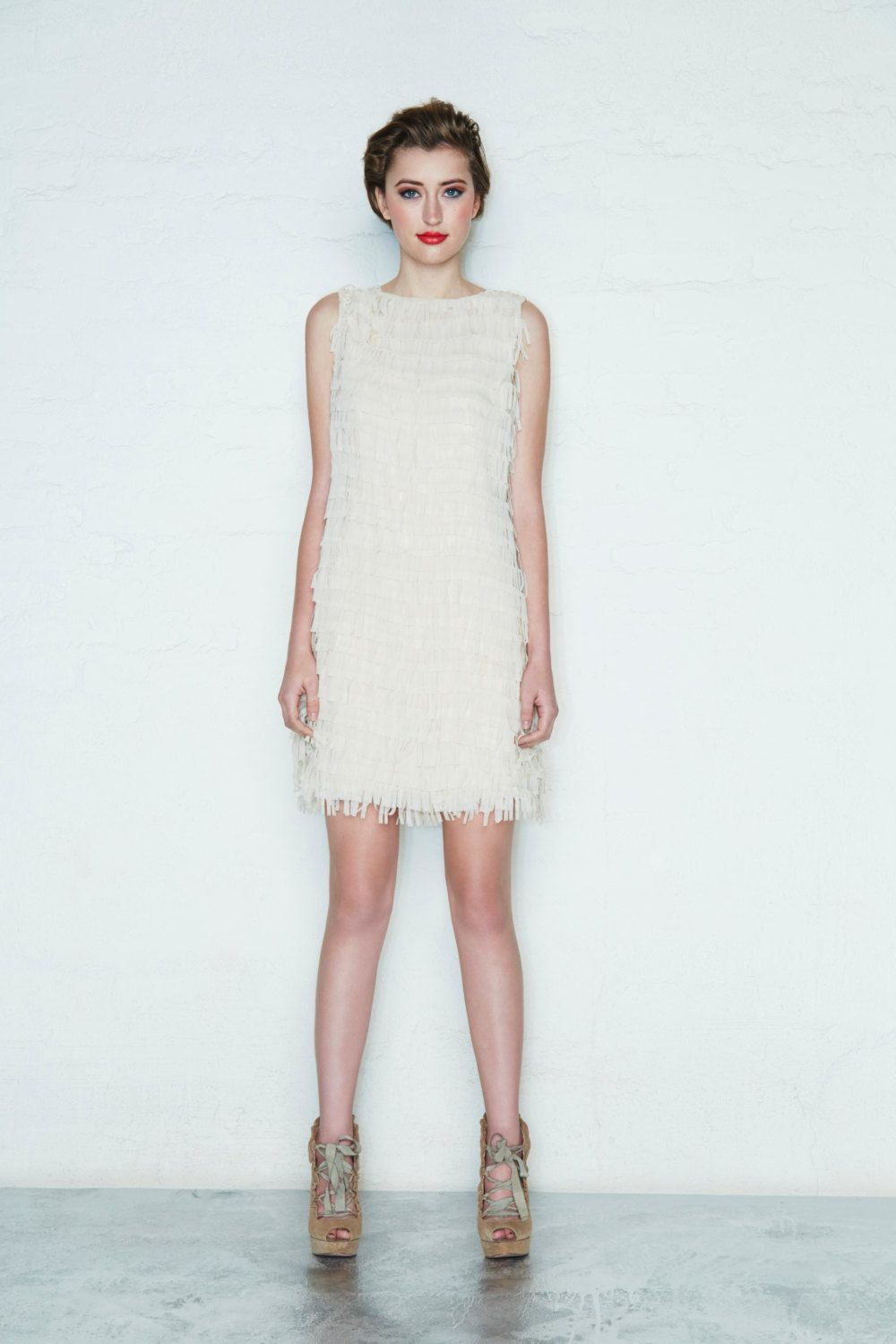 Mod White Fringe Dress, Sixties Simple Wedding Dress, Spring Dress ...