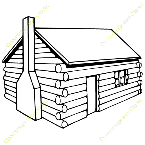 Log Cabin Clip Art Sketch Coloring Page