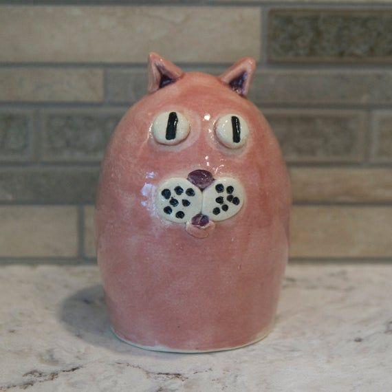 Pink Cat / Adorable Kitty / Fun Feline / Terrific Tabby / Knick Knack / Purrfect Pet / Paperweight / #knickknack