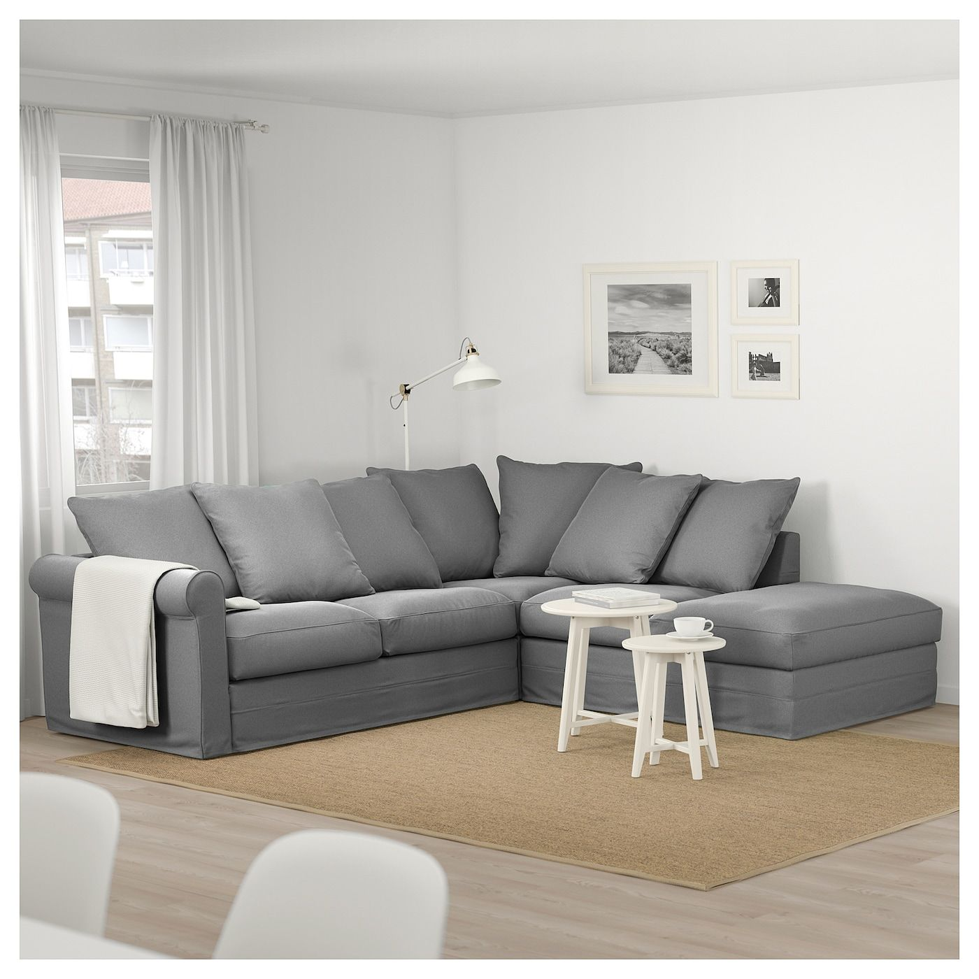 Gronlid Sectional 4 Seat Corner With Open End Ljungen Medium Gray Deep Seat Cushions Sectional Corner Sofa