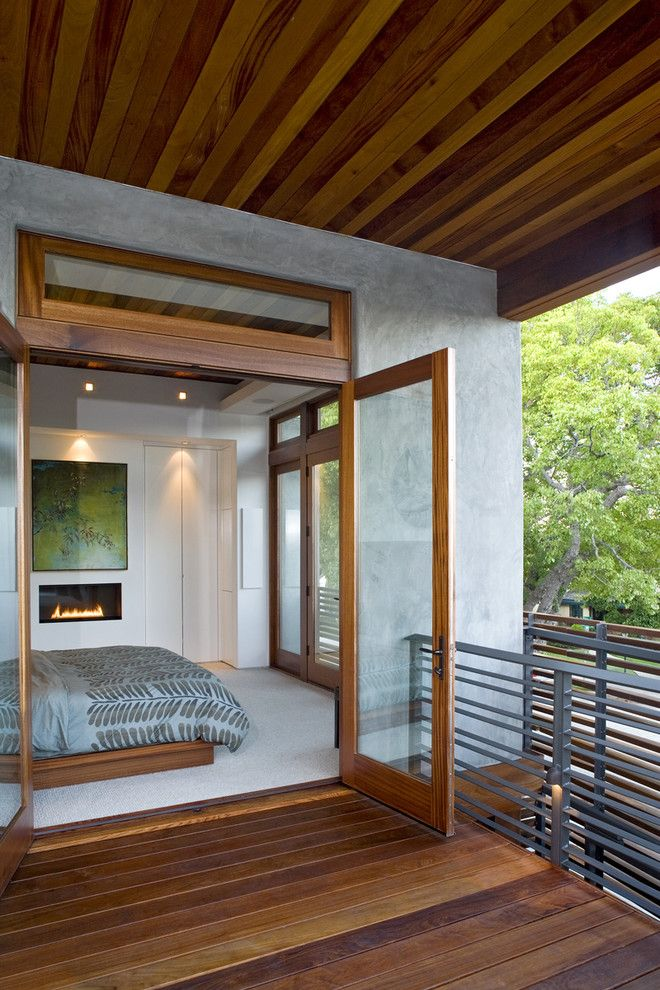 Simple Glass Door For Bedroom Bed Wood Floor Ceiling Railings