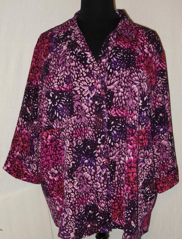 bea3ef45ea4af Womens plus size shirt-4X-Maggie Barnes 4 Catherines-Sleek purple-Free  Shipping  MaggieBarnes  ButtonDownShirt  Casual