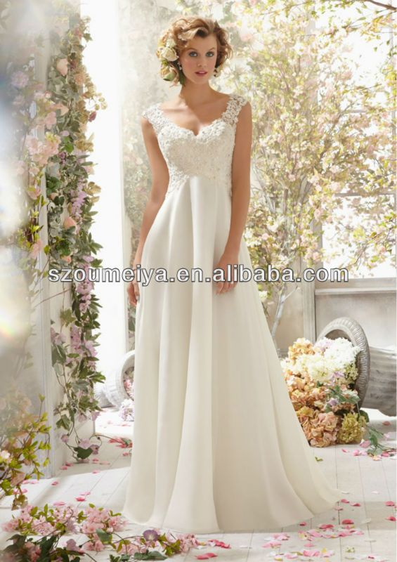 Popular Long Flowy Tank Top Aliexpress Chiffon Wedding Dresses Lace Ivory Chiffon Wedding Dress Bridal Dresses