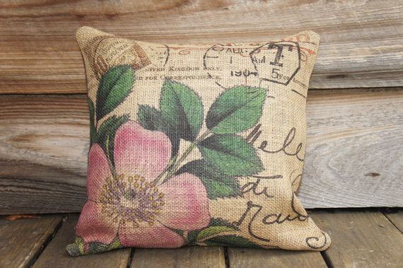 Burlap Pillow Cover of Pink Flower Cushion Cover by TheWatsonShop, $30.00