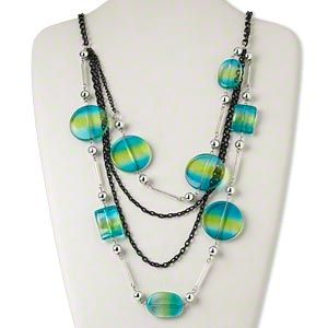 Necklace, silver-coated plastic / steel / aluminum / acrylic / glass, black / blue / yellow, 32mm flat round, 28-inch continuous loop. Sold individually.