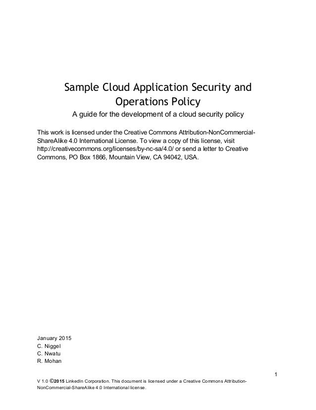 sample cloud application security and operations policy release - security policy sample