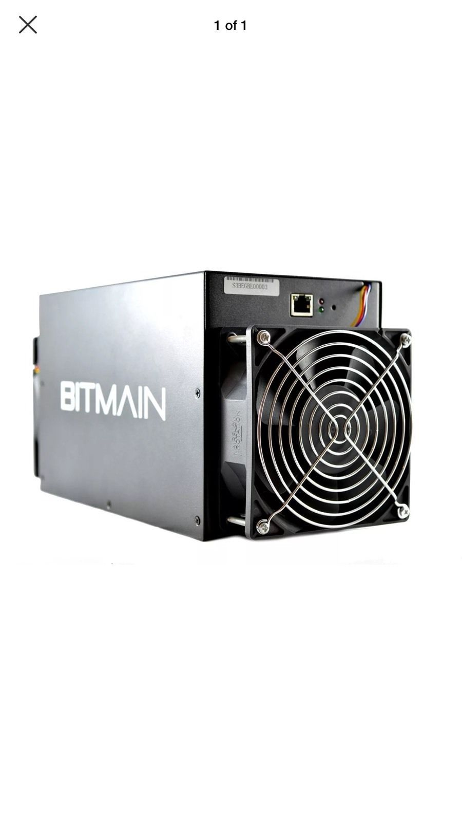 Item specifics     Brand:   Bitmain    Processing Speed (GH/s):   453     Model:   S3    Power Use (W):   355     Mining Hardware:   ASIC   Compatible Currency:  ...