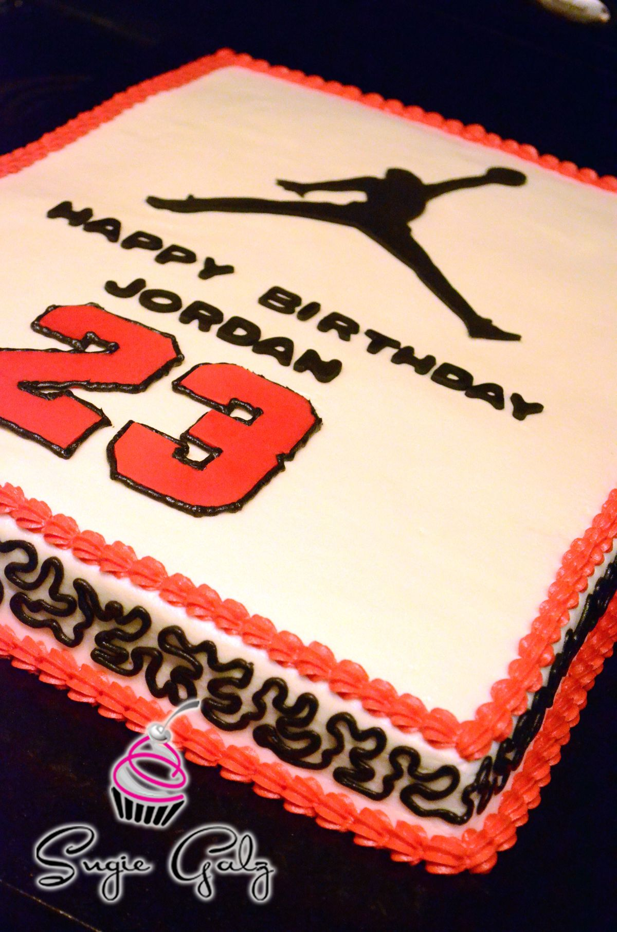 Fun Michael Jordan Birthday Cake in Austin Texas by Sugie Galz