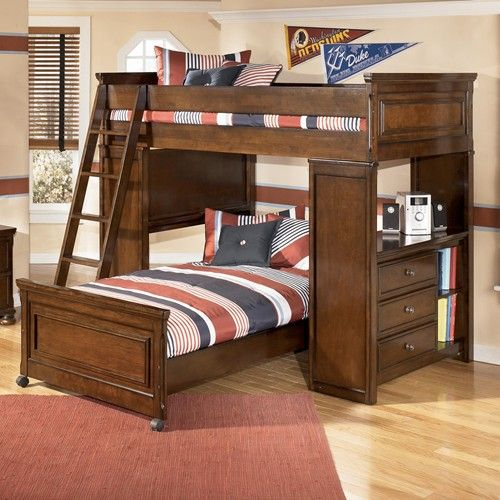Portsquire Loft Bed With Chest Desk From Signature Design By