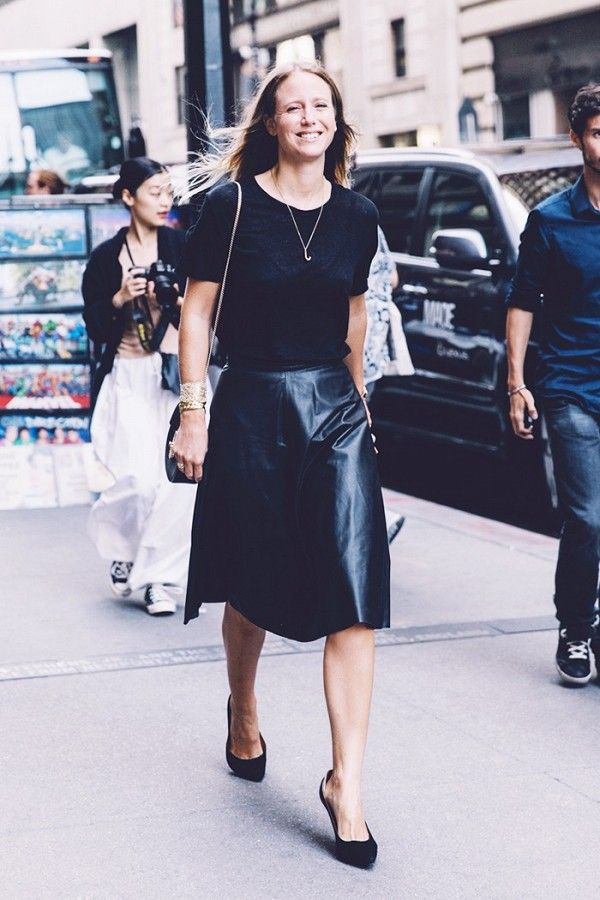 While a leather skirt may seem toasty, an A-line style won't cling to your skin. Pair it with a simple, light weight black tee and finish off with polished accessories
