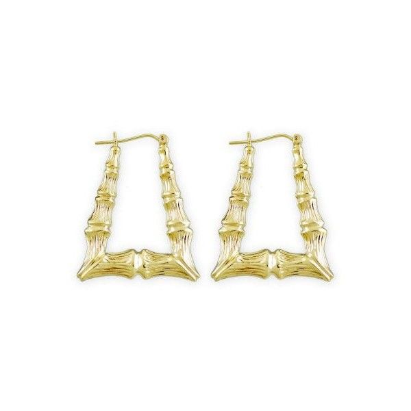10k Gold Rectangular Door Knocker Bamboo Earrings 1 1 4 Inch 190 Liked On Polyvore Featuring Jewelry E Rectangle Earrings Bamboo Jewelry Bamboo Earrings