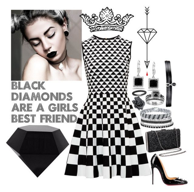 """""""Black Diamonds #188"""" by jillfashionpill ❤ liked on Polyvore featuring Kobelli, Ted Baker, Anne Sisteron, Effy Jewelry, DB Designs, Lydia Courteille, Fallon and Christian Louboutin"""