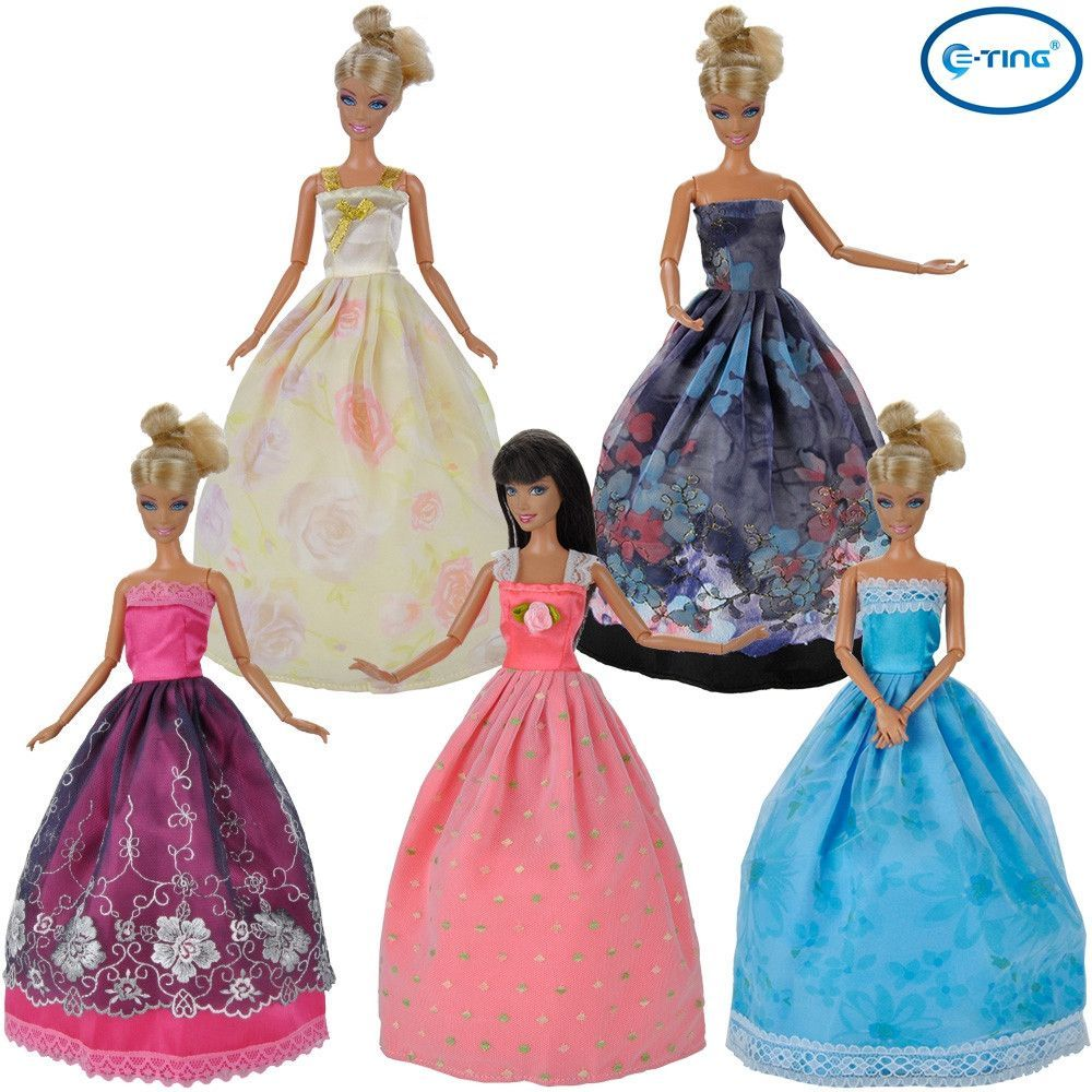 E-TING NEW STYLE Fashion 5 Pcs Handmade Dolls Clothes Wedding Party Dresses For Barbie Dolls