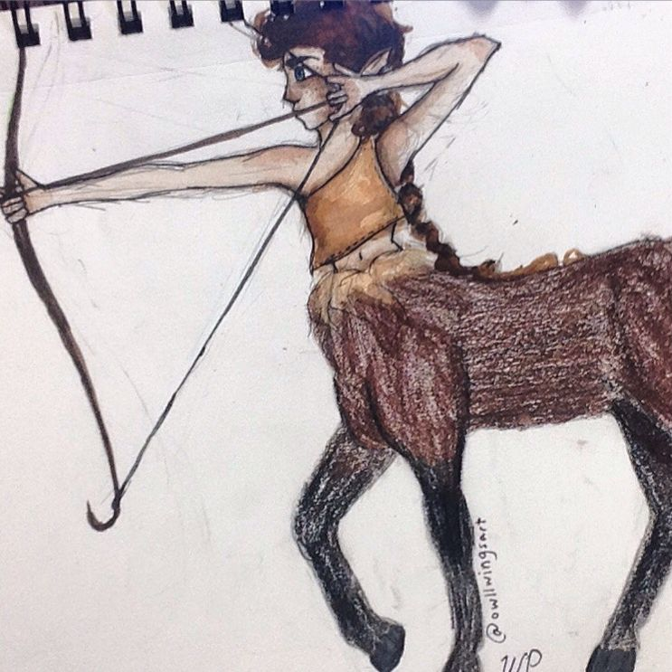 A collab with a friend - we drew a centaur because she's better at animals and I'm better at humans ! @owllwings