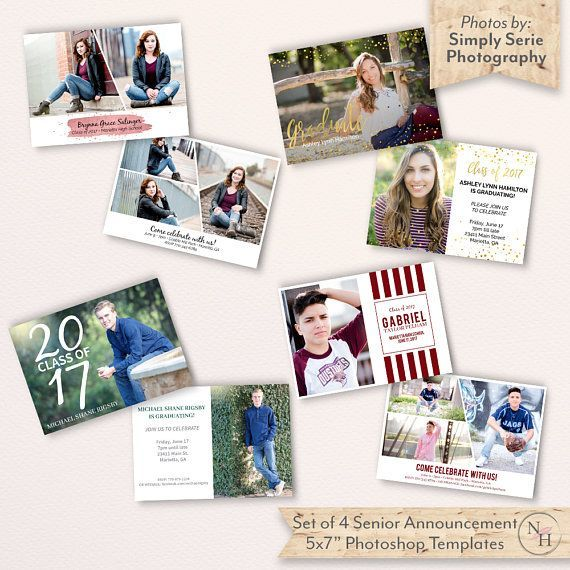 Senior Graduation Templates, Set of 4, Graduation Card Templates ...