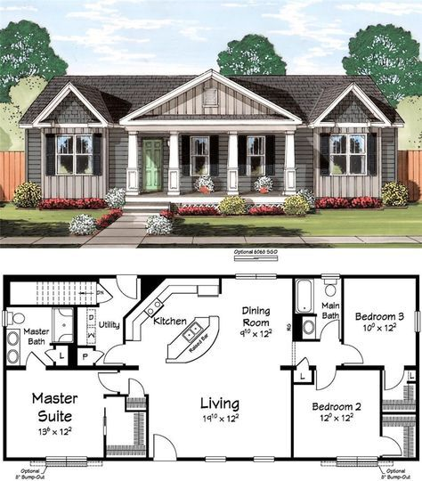 A Pair Of Rocking Chairs Would Fit Perfectly On This Porch New House Plans Dream House Plans Small House Plans