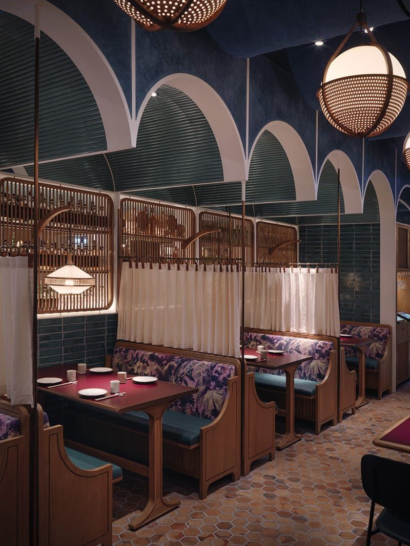 We're Getting Major Wes Anderson Vibes From This Hong Kong Restaurant #SOdomino #room #interiordesign #furniture #lighting #building #architecture #ceiling