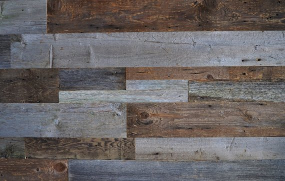 Reclaimed Wood Accent Wall Do It Yourself Diy Authentic Mixed Width Grey And Brown Na