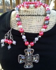 True Love Necklace & Matching Earrings #pink #necklace #cross #valentine #love #jewelry #madeintexas