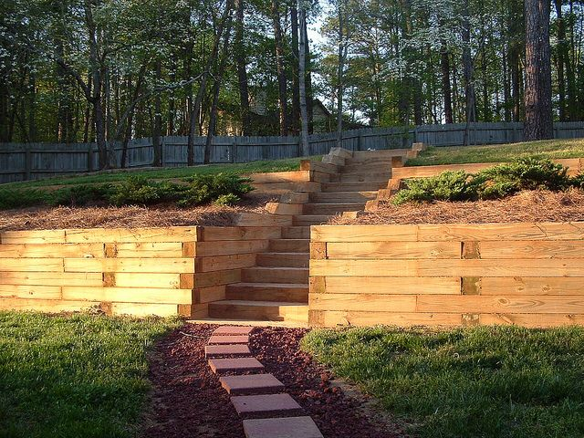 2 Tiered Retaining Wall With Steps In Lilburn Ga By Bclgroupinc Via Flickr Landscaping Retaining Walls Backyard Retaining Walls Sloped Backyard