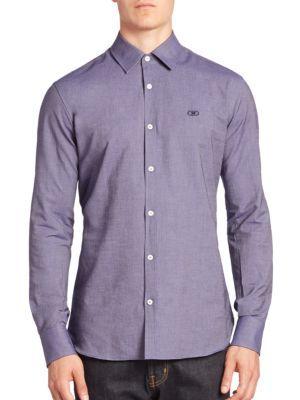 SALVATORE FERRAGAMO Solid Cotton Long Sleeves Shirt. #salvatoreferragamo #cloth #shirt