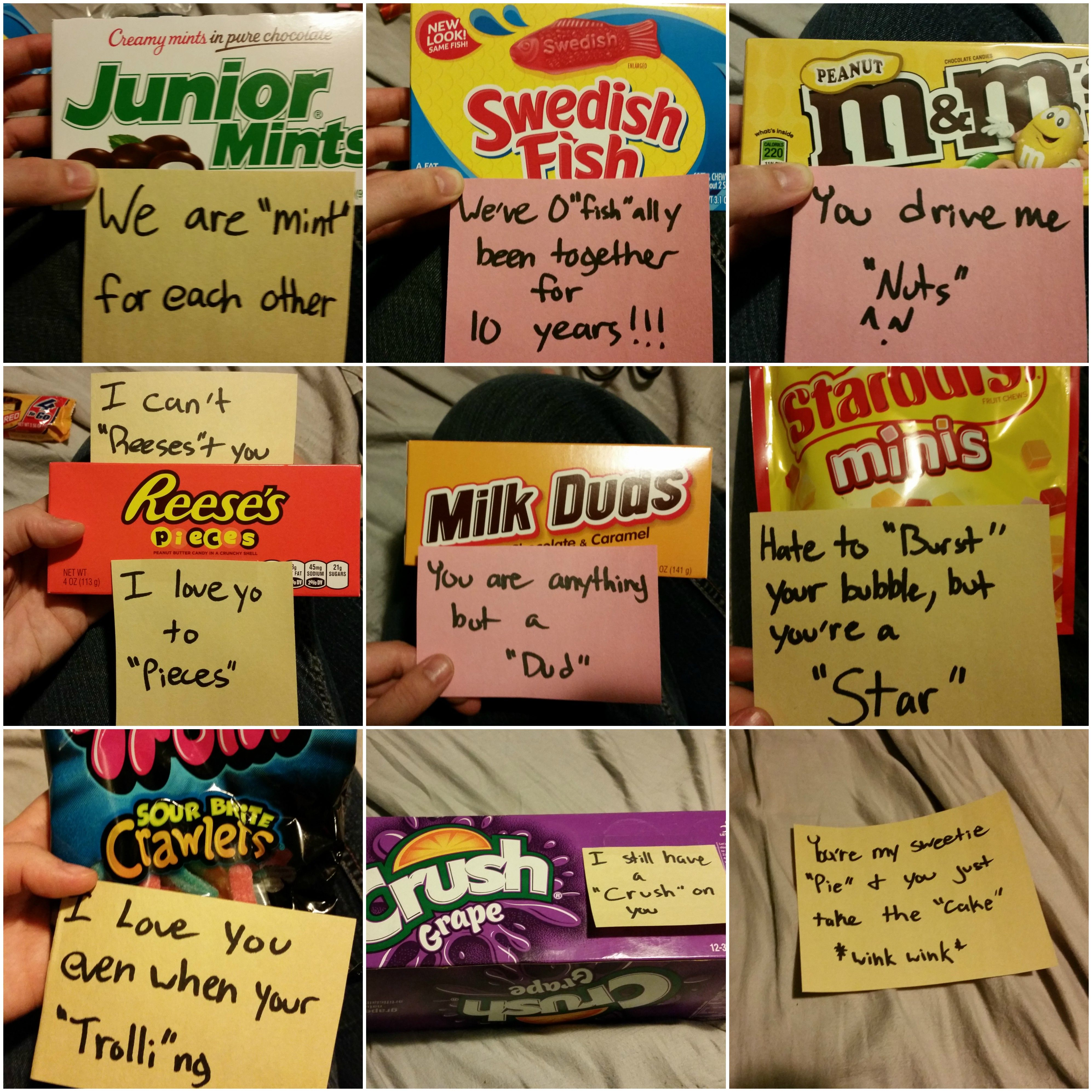 I Made Punny Candy For My Husband For Our 10 Year Anniversary Since He Is Such A Big Fan Of Puns 10 Year Anniversary Punny Gifts Work Anniversary Gifts
