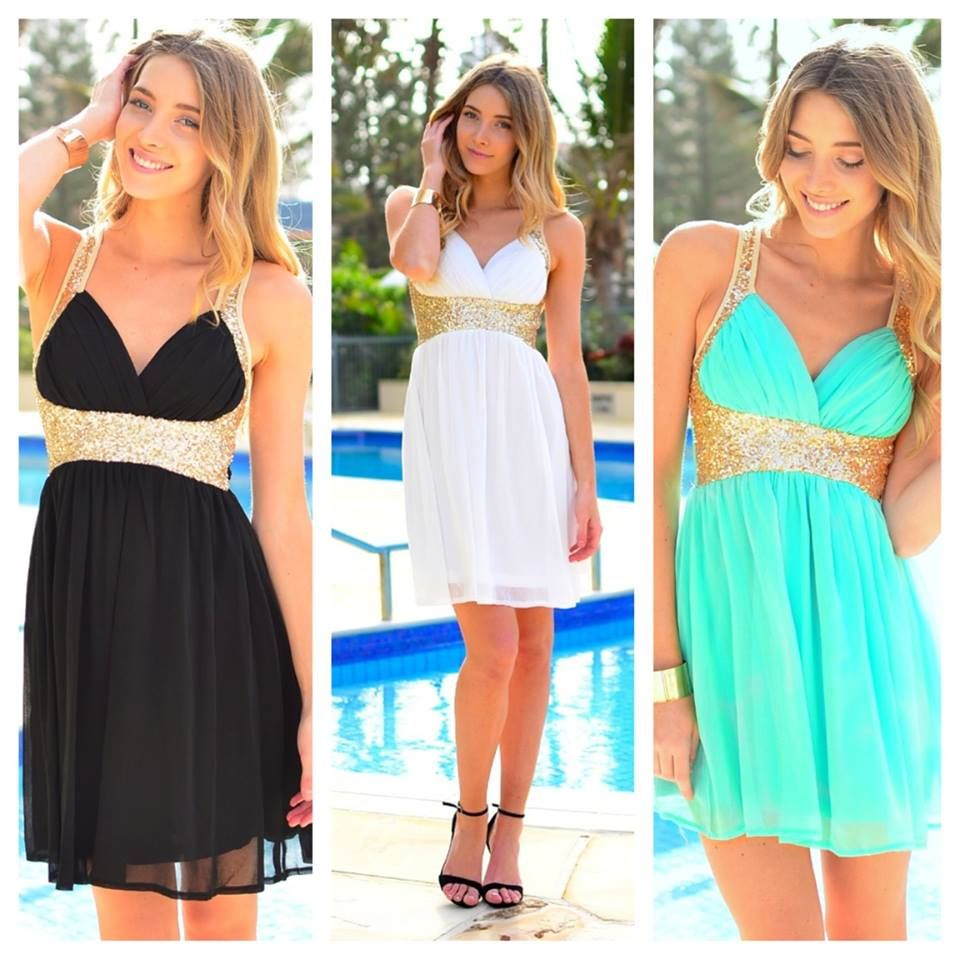 Which Color is Your Favorite?  Black: http://www.ustrendy.com/store/product/93307/black-v-neck-dress-with-gold-sequin-detail-cross-back  White: http://www.ustrendy.com/store/product/93305/white-v-neck-dress-with-gold-sequin-detail-cross-back  Mint: http://www.ustrendy.com/store/product/93304/mint-v-neck-dress-with-gold-sequin-detail-cross-back