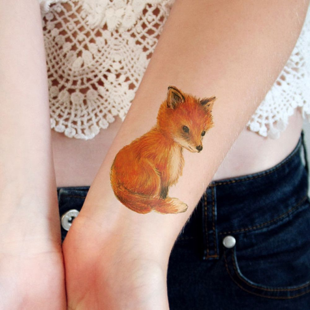 If you decide to get a tattoo look at the image of a fox this animal - Cute Little Fox Temporary Tattoo