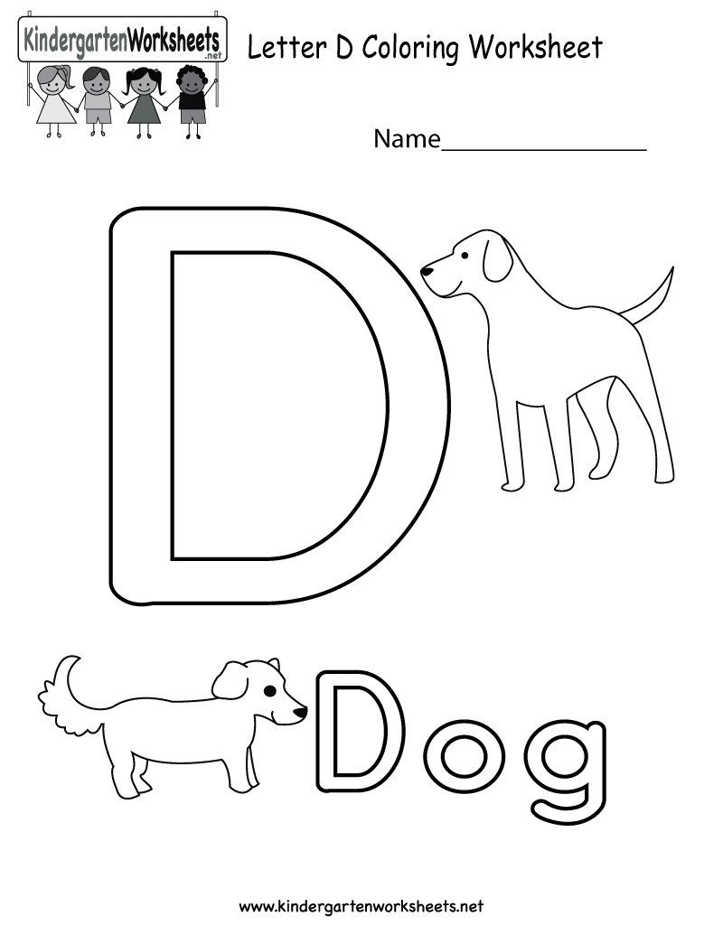 Letter D coloring worksheet for kids in preschool or