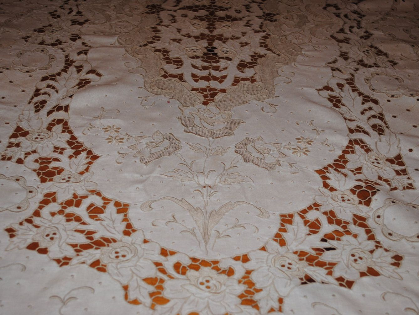 1920's Tablecloth MADEIRA Hand Embroidery All Floral Cut Work by TheBouncingFrogs on Etsy