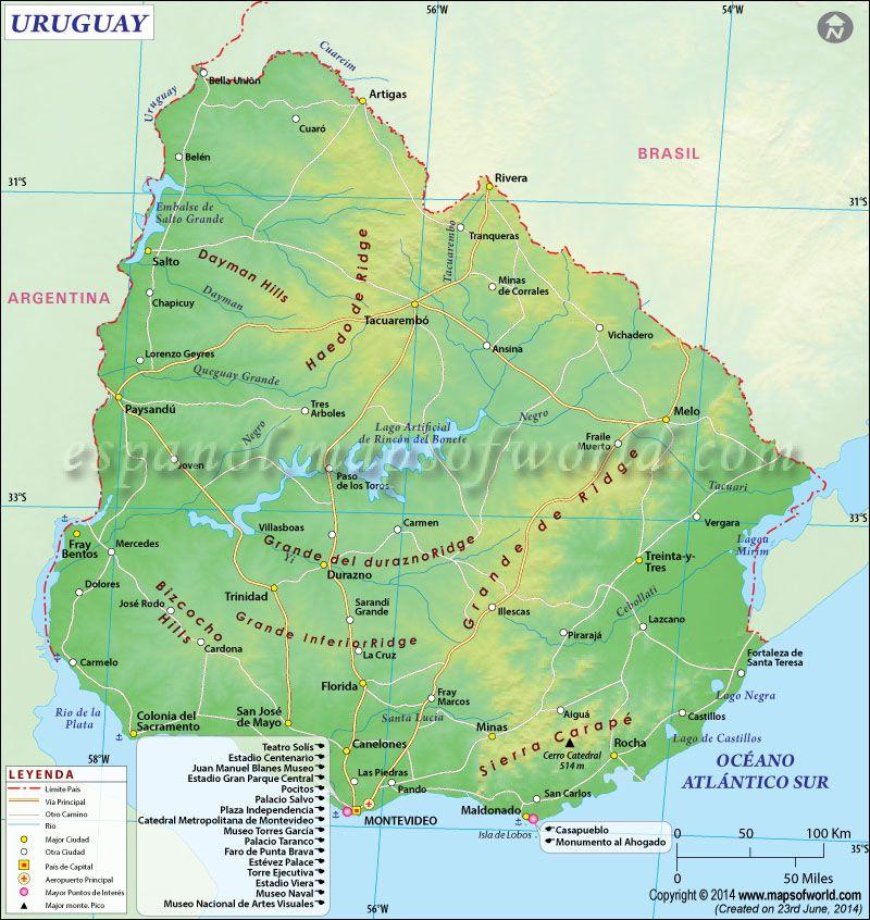 Mapa de Uruguay - fresh yemen in world map