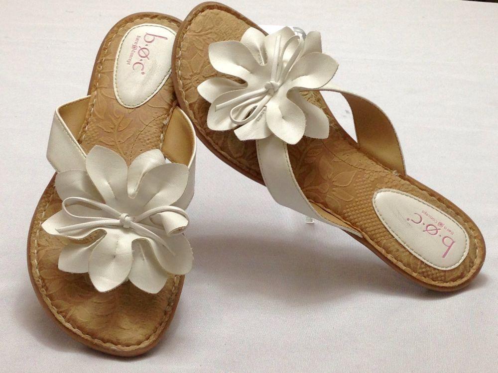 a49262468c2 Born Concept Boc White Flower Floral Flip Flops Sandals SZ 7 EU 37  Brn   FlipFlops  Casual