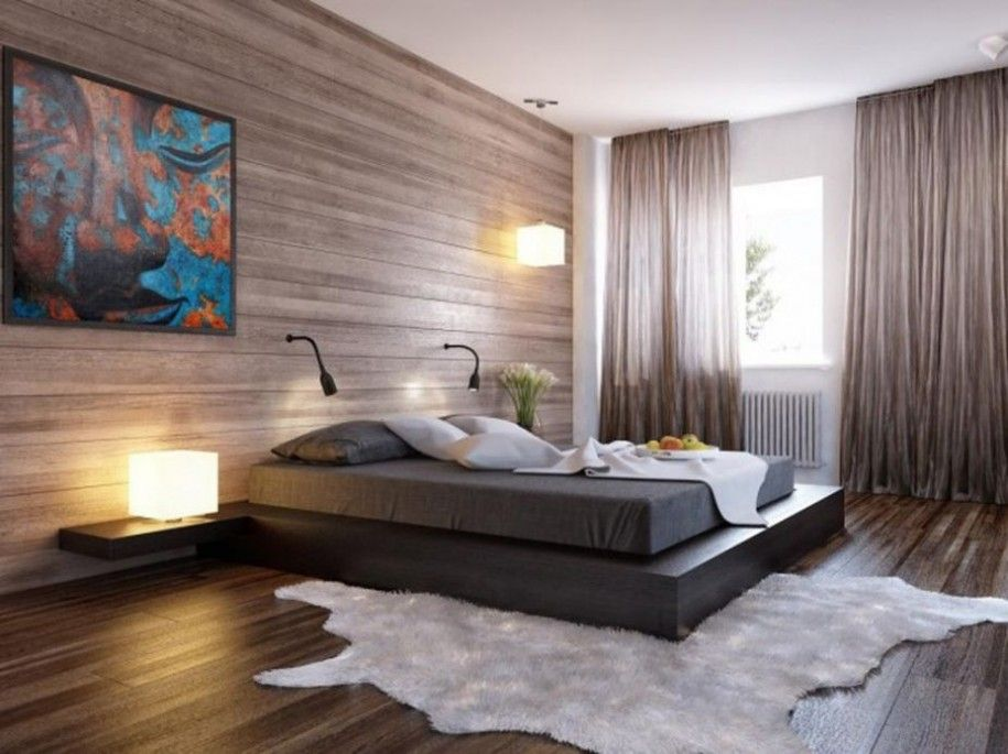 Bedroom Paint Ideas for Couples in White Wall and Wooden Wall Accent ...