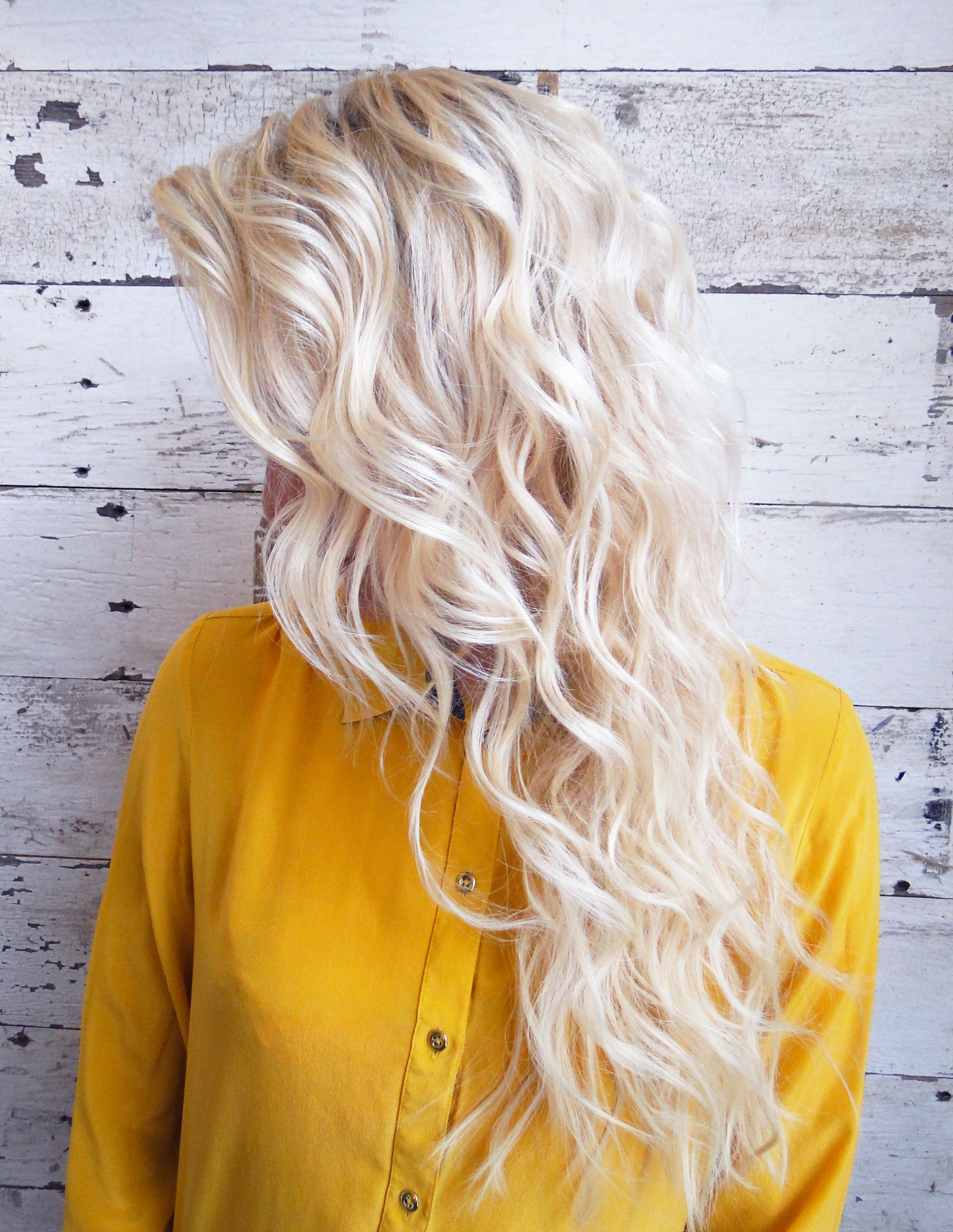 Straight perm bleached hair - Bleach Blonde Mermaid Waves