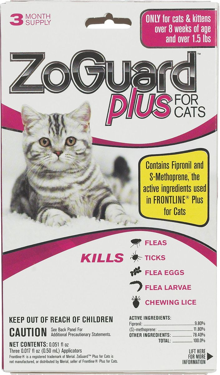 Zoguard Plus For Cats 3 Pk Over 1 5 Lbs Cat Fleas Fleas